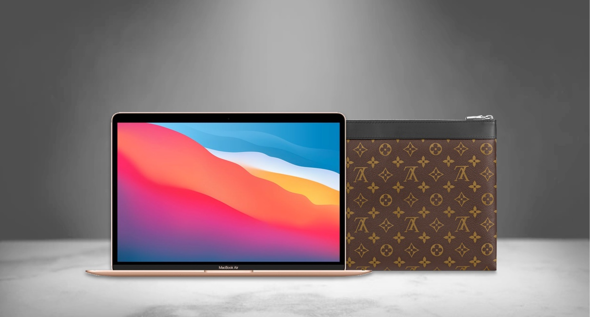 LV Pouch and MacBook