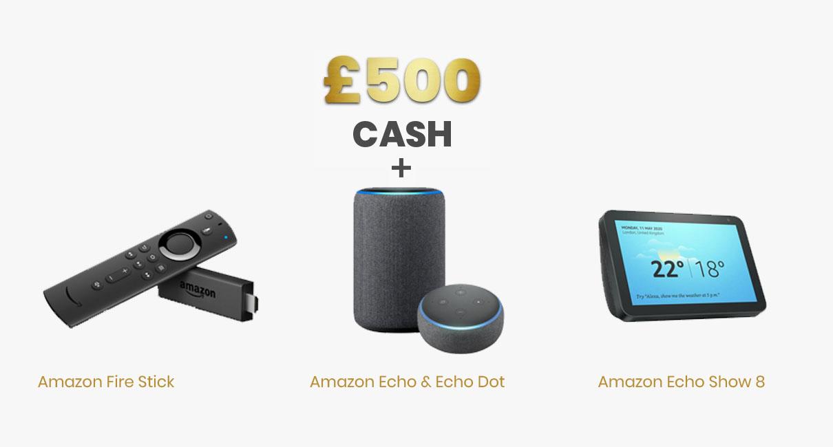 Fire stick, Echo, Echo Dot, Echo Show 8 and £500
