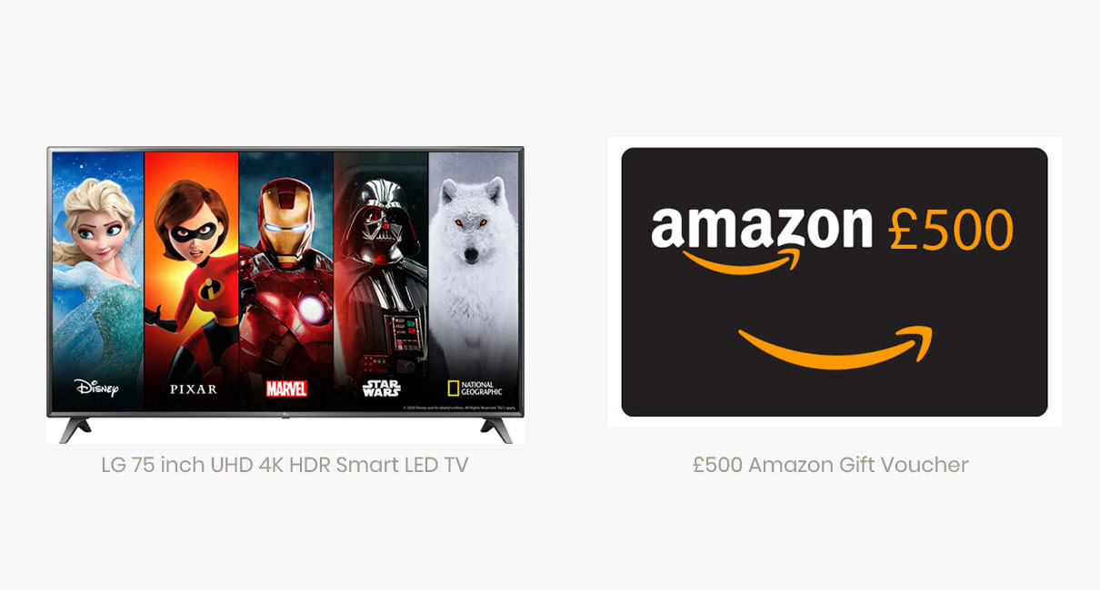 "75"" LG TV and £500 Amazon gift card"