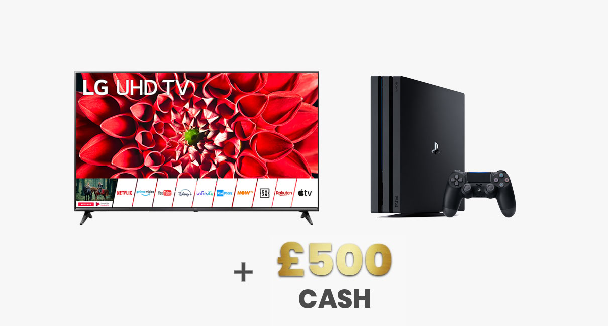 LG TV, PS4 and £500