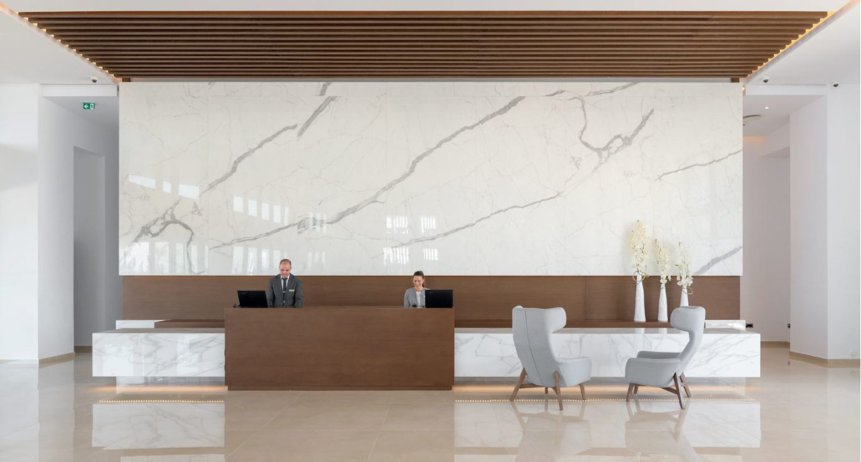 Large luxury marble hotel lobby