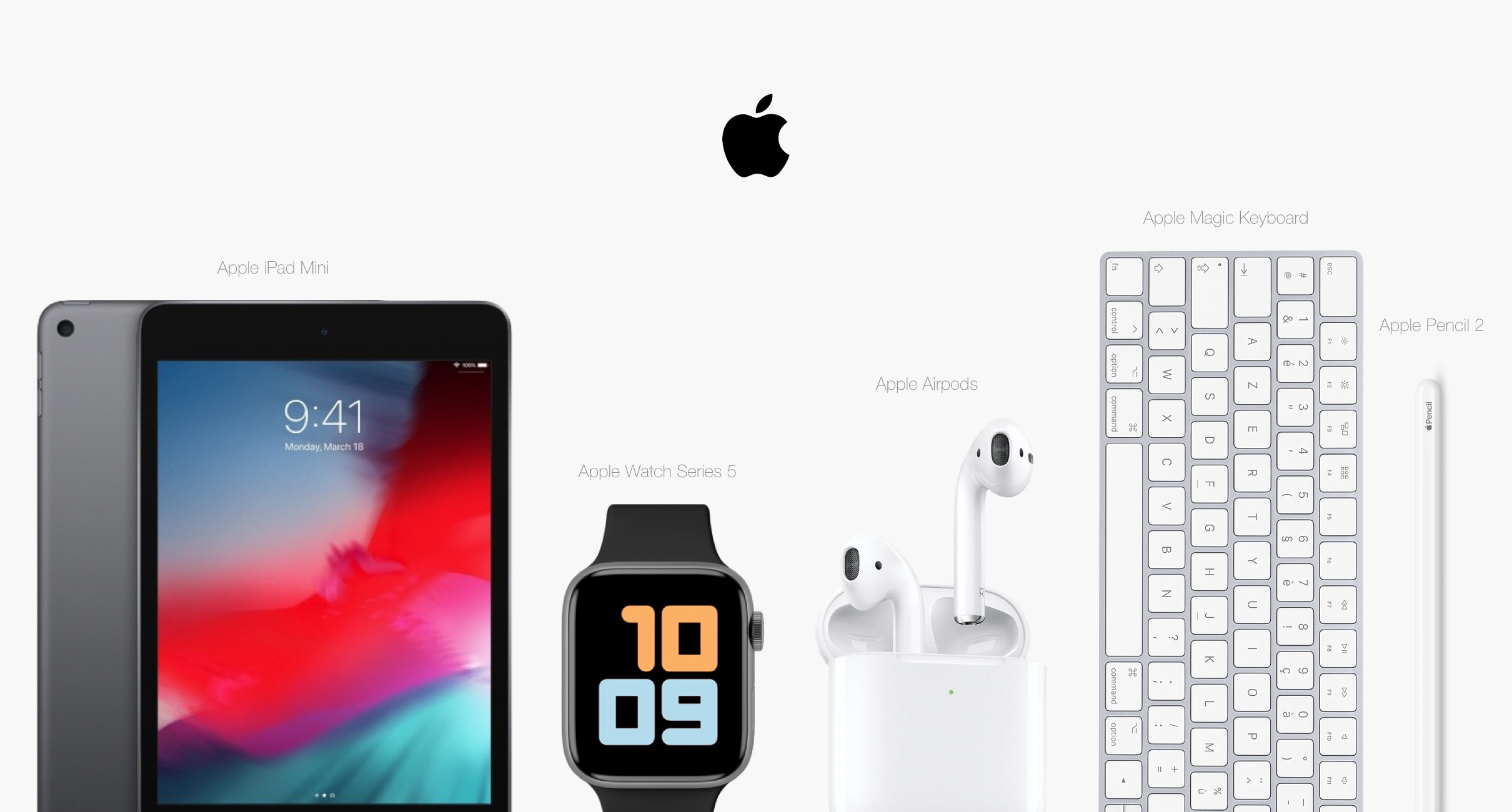 Multiple Apple products on a clean background
