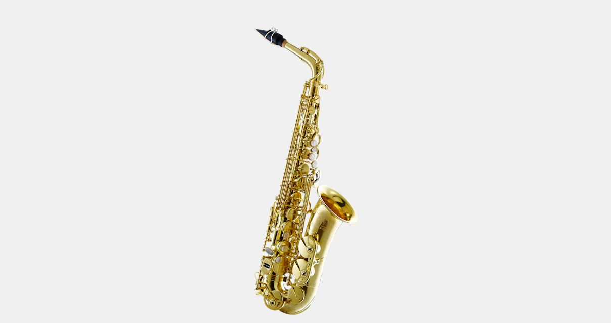 Polished saxophone sits on clean white background