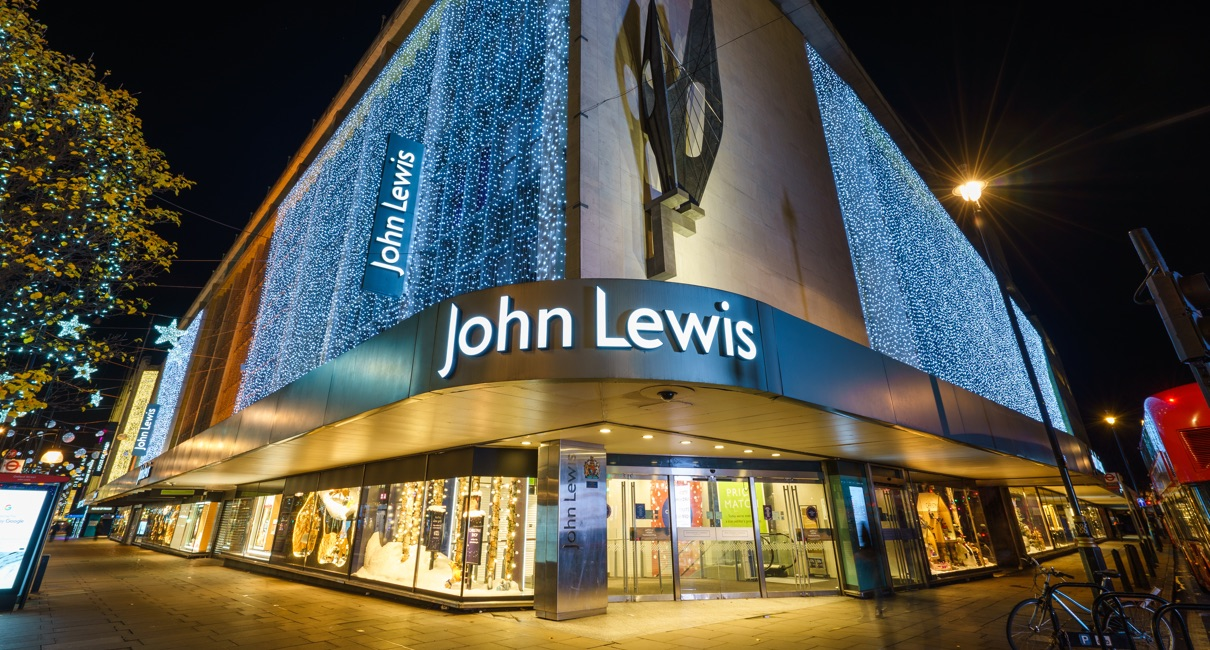 John Lewis Oxford Street lit up at night