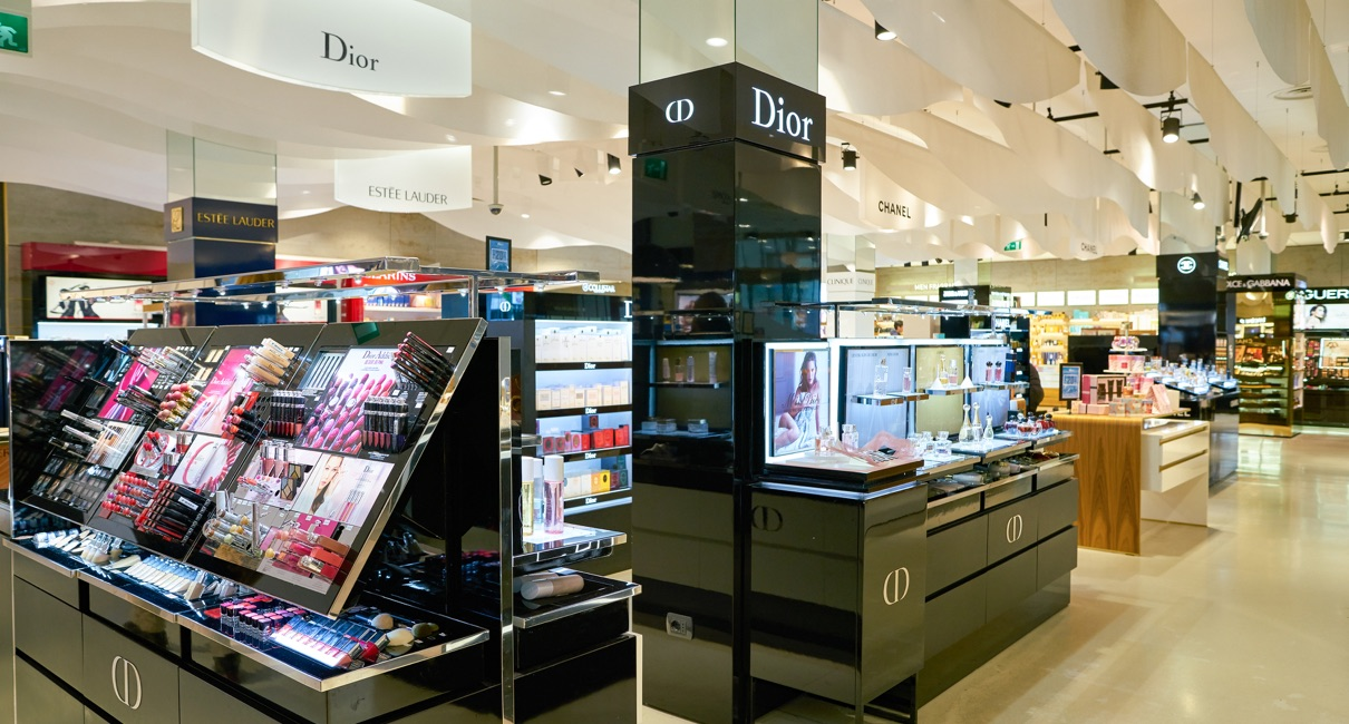 Sleek black Dior make up counter