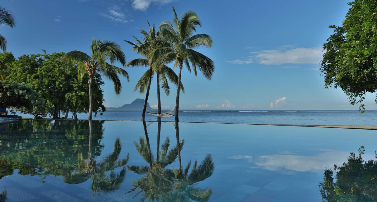 Luxury infinity pool at the Maradiva hotel Mauritius