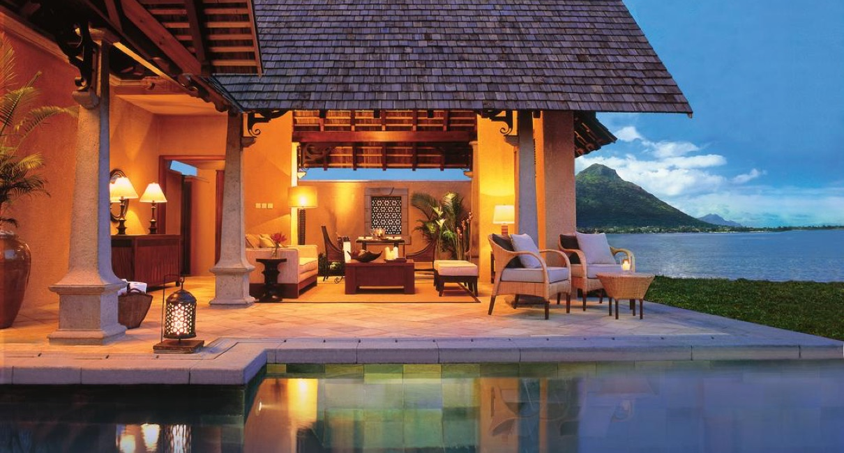 Luxury villa suite at sunset at the Maradiva hotel