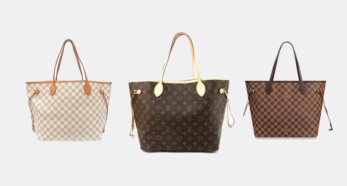 Three Louis Vuitton handbags on a clean white background