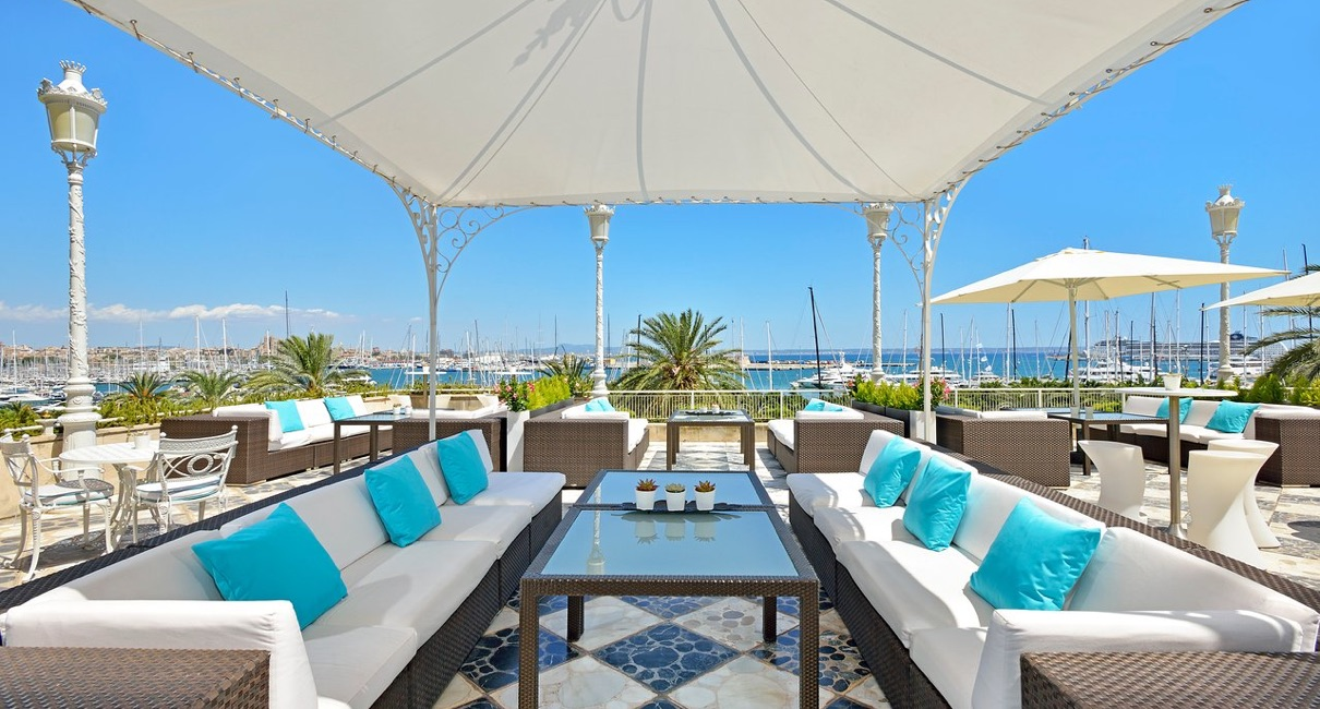 Sunny terrace seating area at the Gran Melia hotel Palma