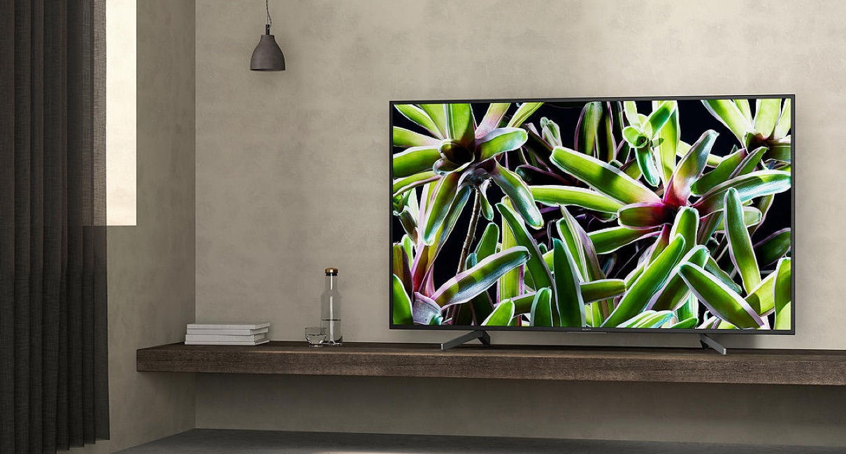 SONY Bravia TV on table displaying image of a plant on screen