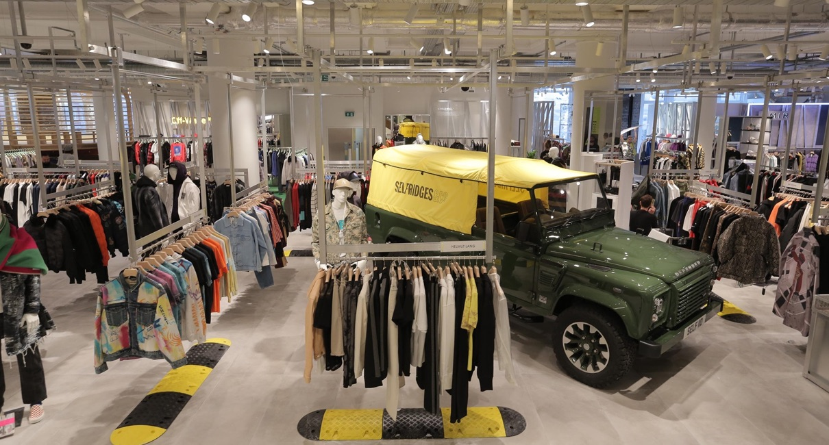 Selfridges store interior with land rover defender