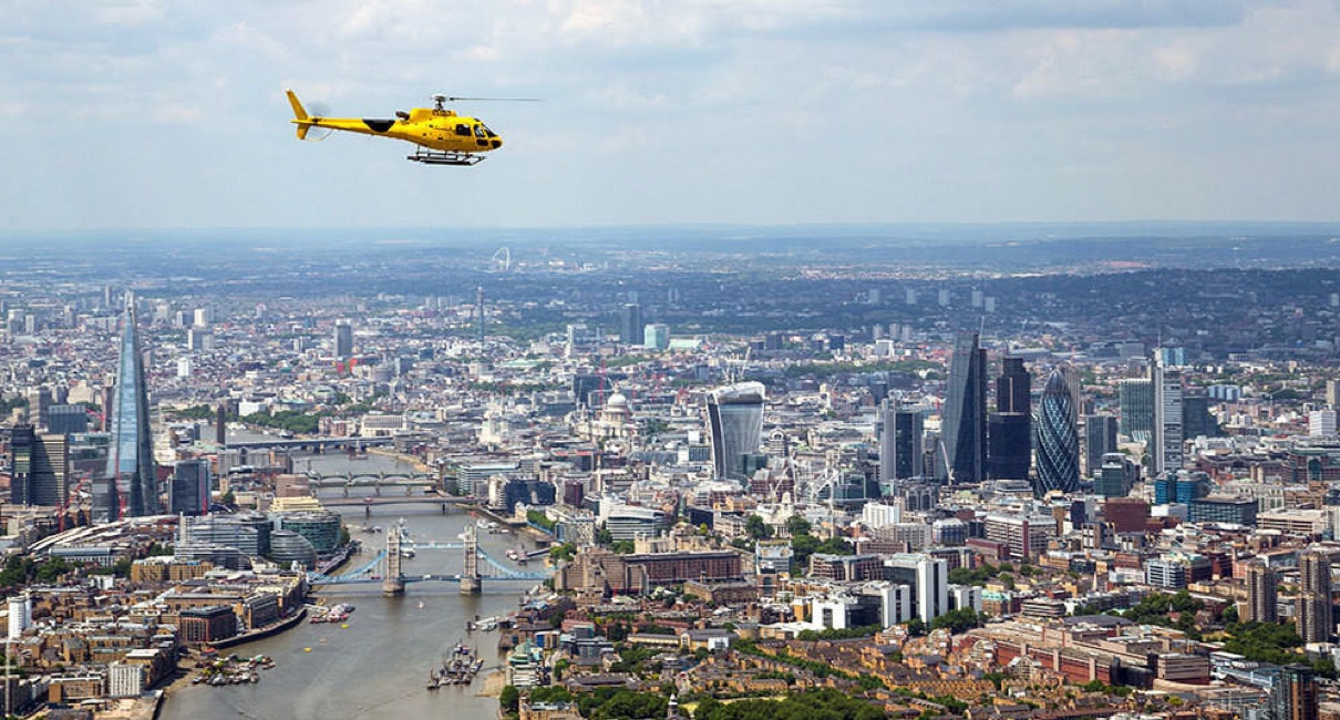 Helicopter flight over London