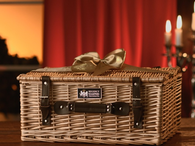 Regency hamper in a candle lit room