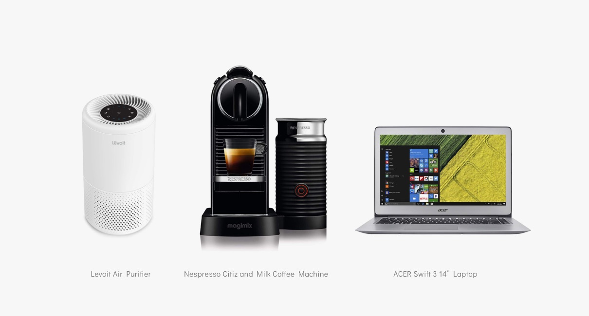 Nespresso machine, air purifier and Acer laptop